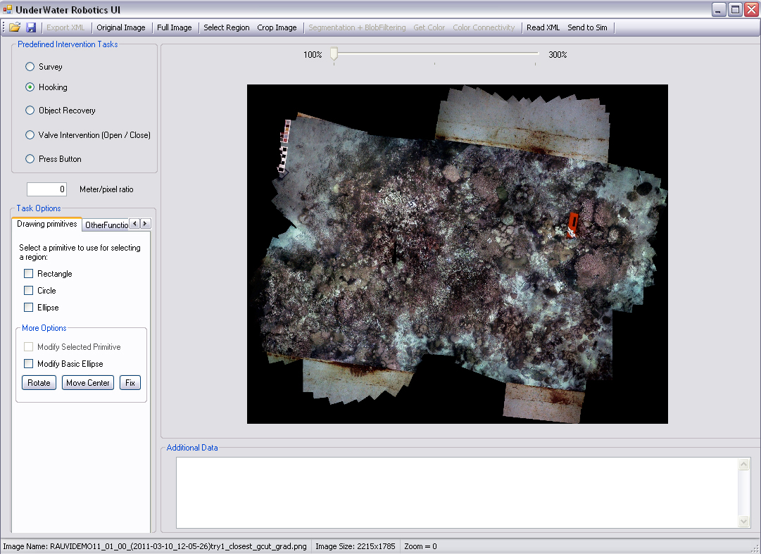 UWUI: loading an underwater photomosaic image.